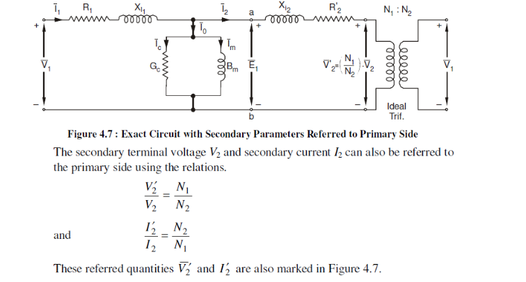 Equivalent circuits of transformer on load as well as on no load exact circuit with secondary parameters ccuart