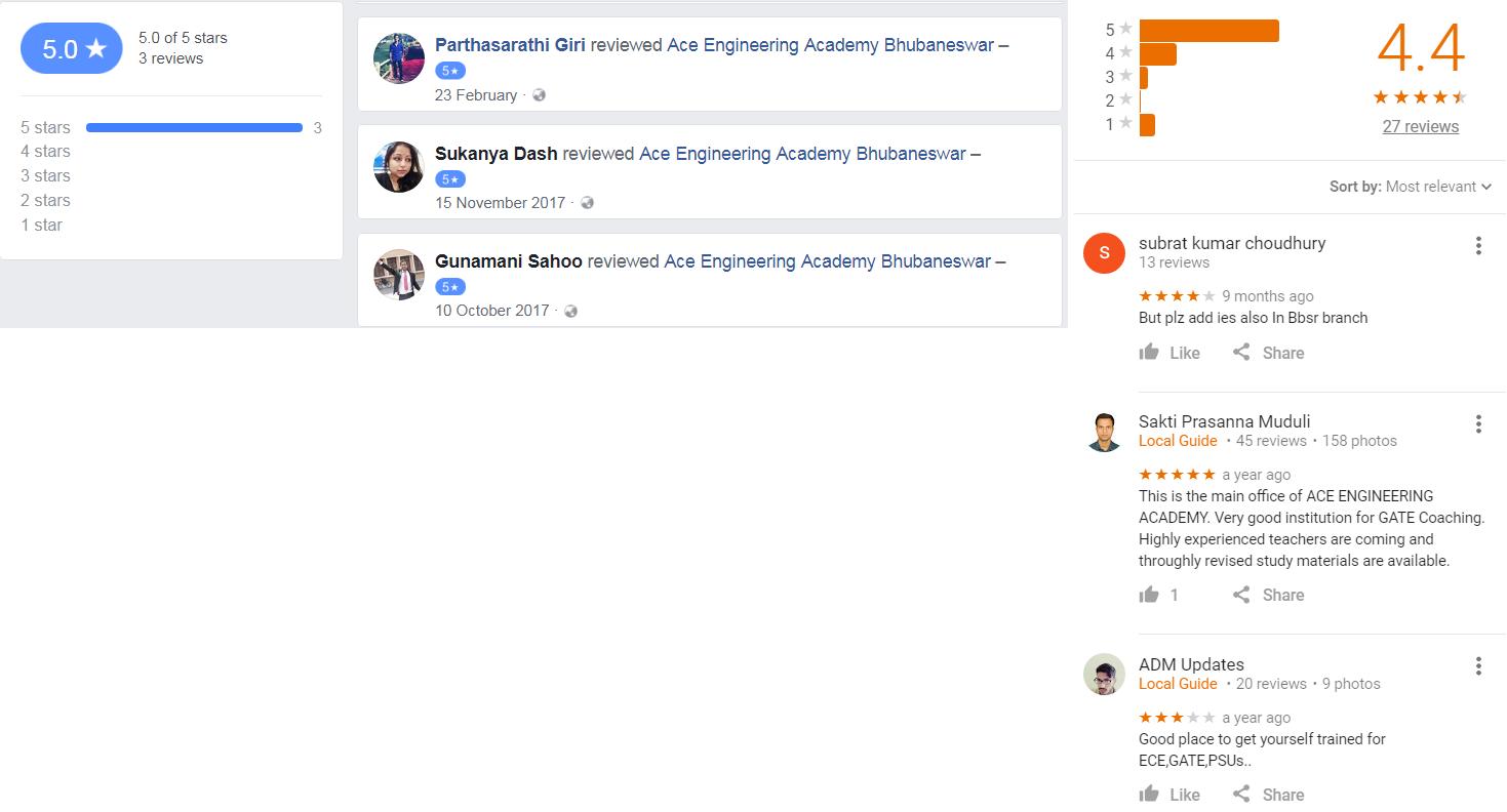Ace Engineering Academy Gate Coaching Bhubaneswar Reviews