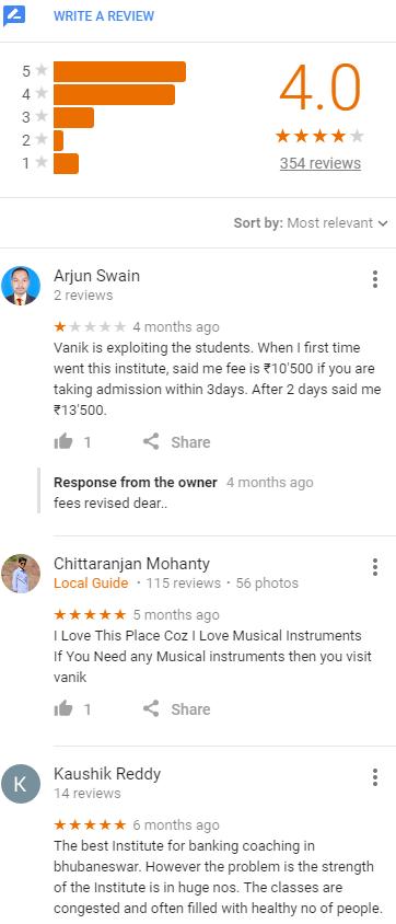Vanik SSC Coaching Bhubaneswar Reviews