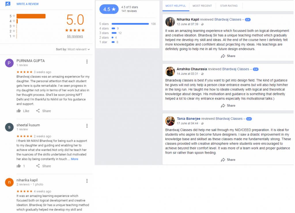 Bhardwaj Classes NIFT Coaching Delhi Reviews