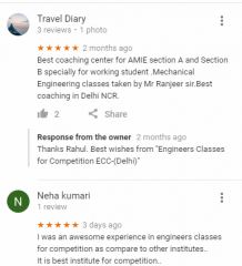 Engineers Classes PSU Coaching Delhi Reviews
